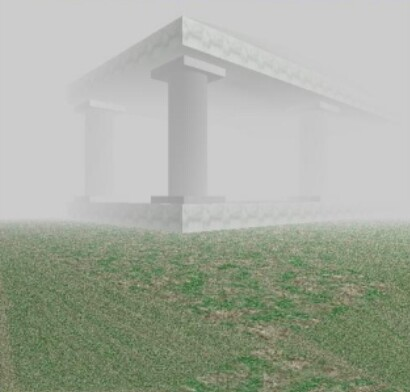 Prostorová scéna s aplikovaným efektem mlhy