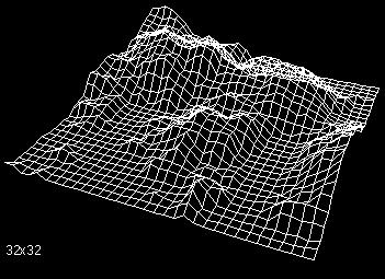 Obrázek 1: Procedurální model terénu vytvořený pomocí metody  přesouvání prostředního bodu