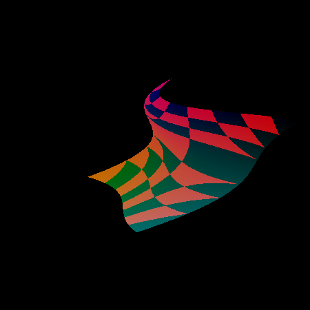 Screenshot druhého demonstračního příkladu se zakázaným automatickým generováním normálových vektorů