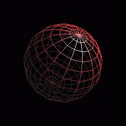 Model koule vytvořený pomocí funkce gluSphere() při nastavení parametrů slices=15 a stacks=15