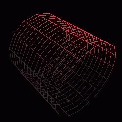 Model válce vytvořený funkcí gluCylinder() při nastavení parametrů slices=15 a stacks=15