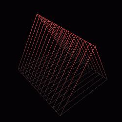 Model válce vytvořený funkcí gluCylinder() při nastavení parametrů slices=4 a stacks=15