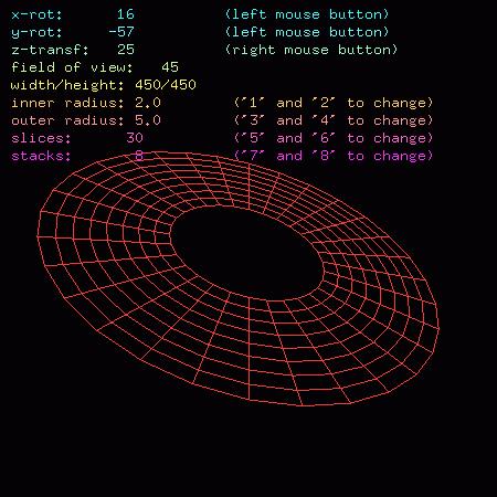 Screenshot třetího demonstračního příkladu se zobrazeným modelem disku