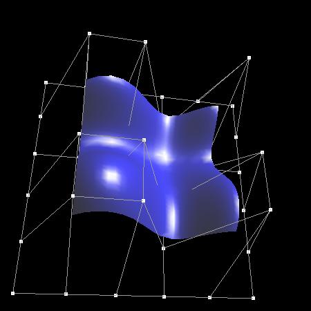 Obrázek 1: B-spline plocha vykreslená pomocí NURBS
