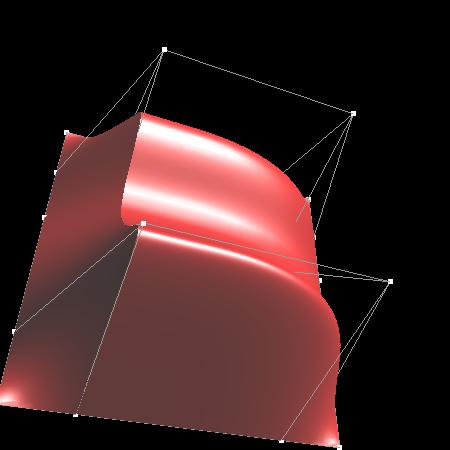 Obrázek 2: B-spline plocha s násobnými řídícími body
