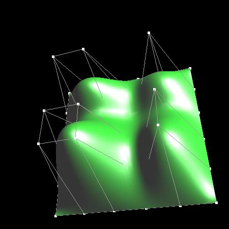 Obrázek 3: NURB plocha, která prochází svými krajními body