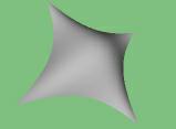 Obrázek 4: NURB plocha, u které mají všechny řídící body jednotkovou váhu