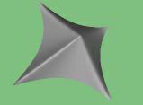 Obrázek 5: NURB plocha, u které mají některé řídící body váhu zvětšenou