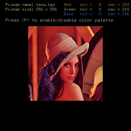 Screenshot druhého příkladu s minmax tabulkou ovlivněnou gamma korekcí