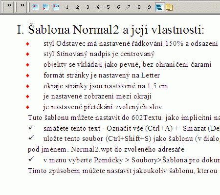 Práce s osnovou v textovém procesoru 602Text