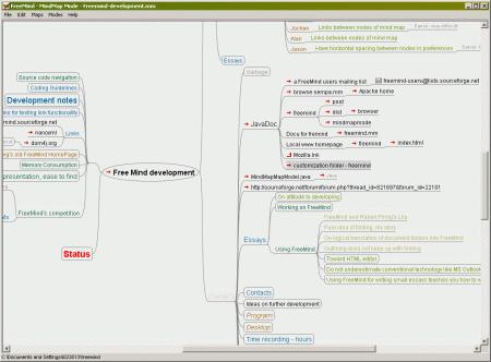 Screenshot aplikace FreeMind