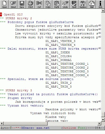 Buffer v Emacsu se zapnutým módem outline