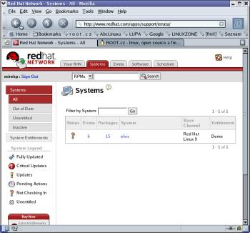 Kontrola aktualizací pomocí Red Hat Network