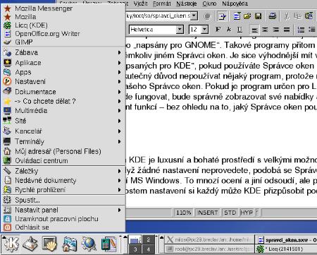 Hlavní menu KDE
