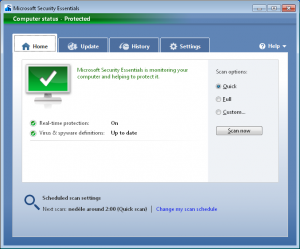 Microsoft Security Essentials 4.6.305.0 - náhled
