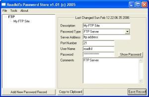 Roadkil's Password Store 1.0 - náhled