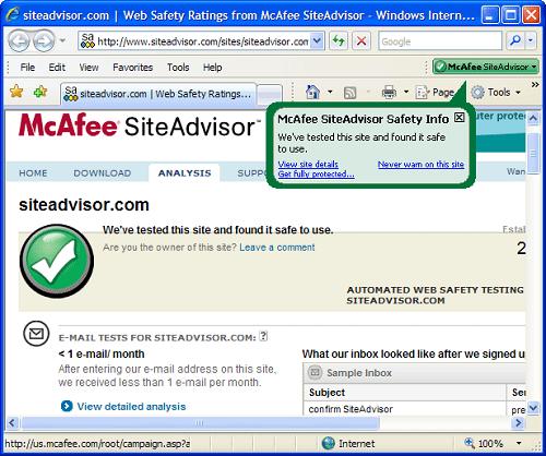 McAfee Site Advisor