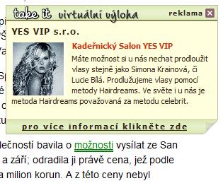 intextová reklama na webu Idnes.cz