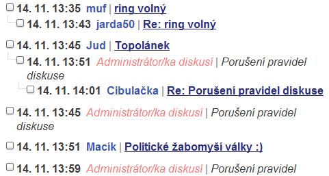nadpisy diskusních příspěvků začínající datem na webu Aktuálně.c