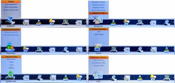 Homecast HS 3200CIIR hlavní menu