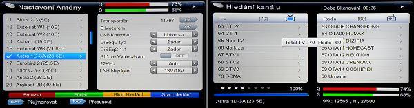 DreamSky NXP256HD nastavení a ladění