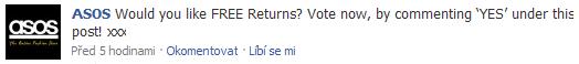 Otázka na Facebooku ASOS