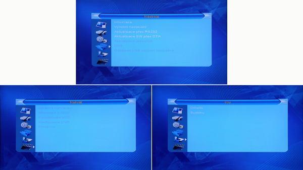 DI-WAY T-200HD hlavní menu