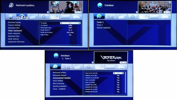Vantage VT-600S výběr satelitu