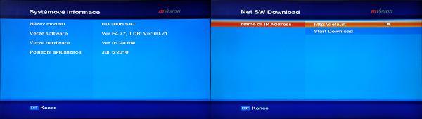 Set-top-box mVision HD-300 NET - upgrade software