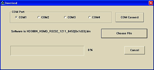Set-top-box mVision HD-300 NET - upgrade software přes 232