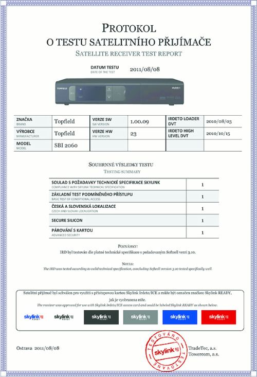 Topfield SBI-2060 - certifiknát Skylink READY