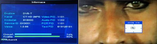 Unibox 9080 info o terestrickém signálu