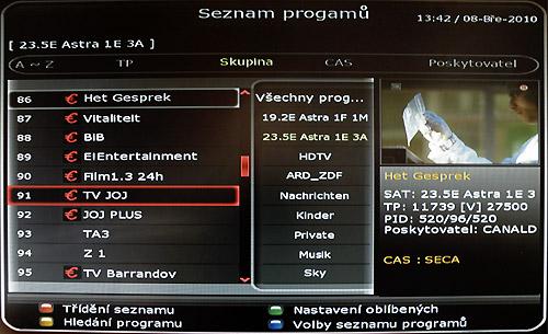 Octagon SF1008 HD - Inteligence kódovaný kanál