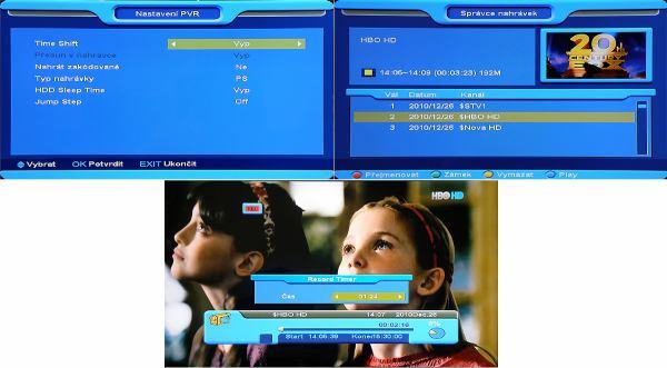 Opticum x403p HD nastavení menu