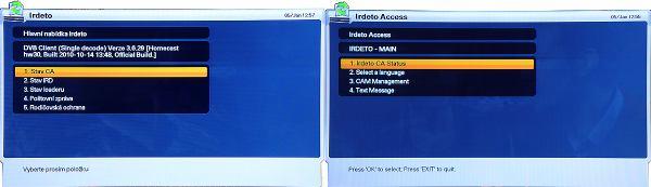 Homecast HS 3200CIIR Irdeto menu