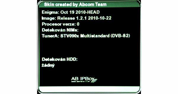 AB IPBox 9900 BB informační menu