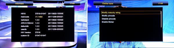 Ariva102mini Black info o přijímači