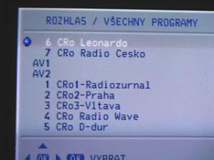 Sencor STV 2112DVBT - menu radio