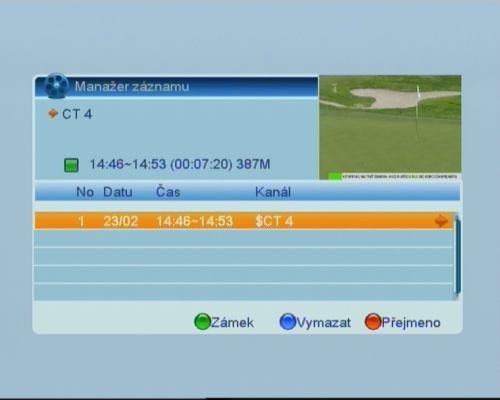 Opensat 3000CR PVR nahrávky