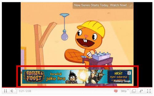 Ukázka překryvné grafické reklamy InVideo (označeno červeným rámečkem)