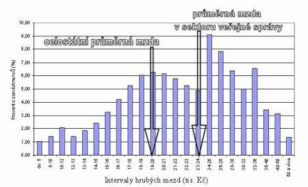 Příklad rozdělení hrubých mezd v odvětví veřejné správy 2005