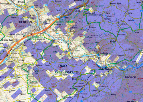 Mapa T-DAB Teleko experiment Berounka