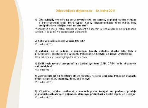 ČRa - odpovědi na digitální rozhlas, 10.1.2011