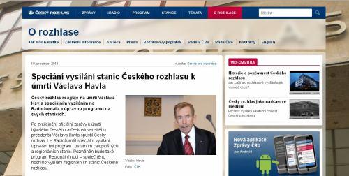 Český rozhlas - úmrtí Václava Havla