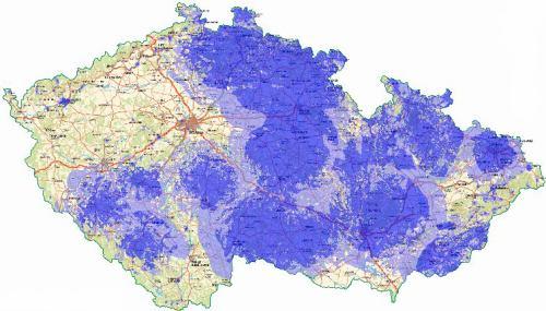 Analogová ČT 2 - pokrytí ČR k 1.1.2009