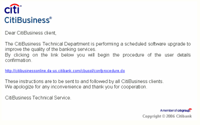 Phishing - e-mail Citibank