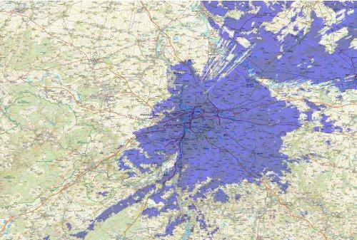 DAB - pokrytí Prahy 1.4.2011