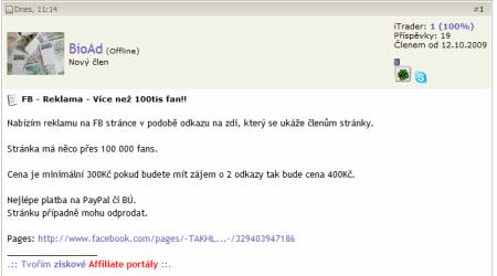 FB - Reklama - Více než 100tis fan!! - Webtrh