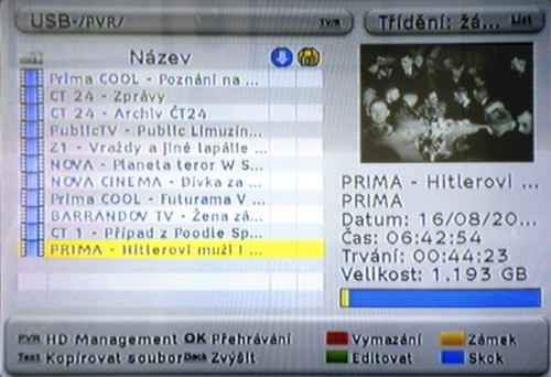 FTE PVR T250 - HDD záznamy