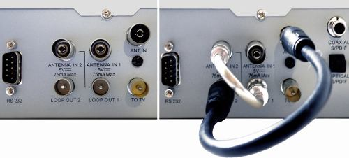 FTE PVR T250 - propojení konektorů